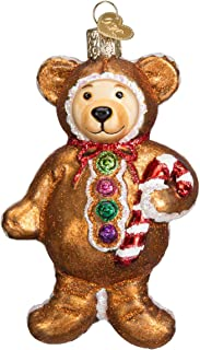 Old World Christmas Gingerbread Teddy Glass Blown Ornament