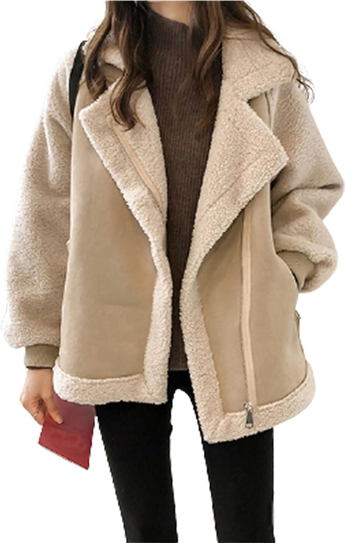 Xiaoxuemeng Women's Faux Sheerling Jacket Lapel Zipper Thicken Solid Coat Sherpa Jacket
