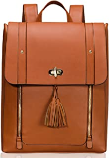 Women PU Leather Backpack 15.6inch Laptop Vintage College School Rucksack Bag(brown)