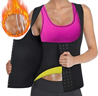 Sweat Waist Trainer Girdle Workout Sauna Tank Top Vest for Women Weight Loss Exercise, Double Tummy Slimmer