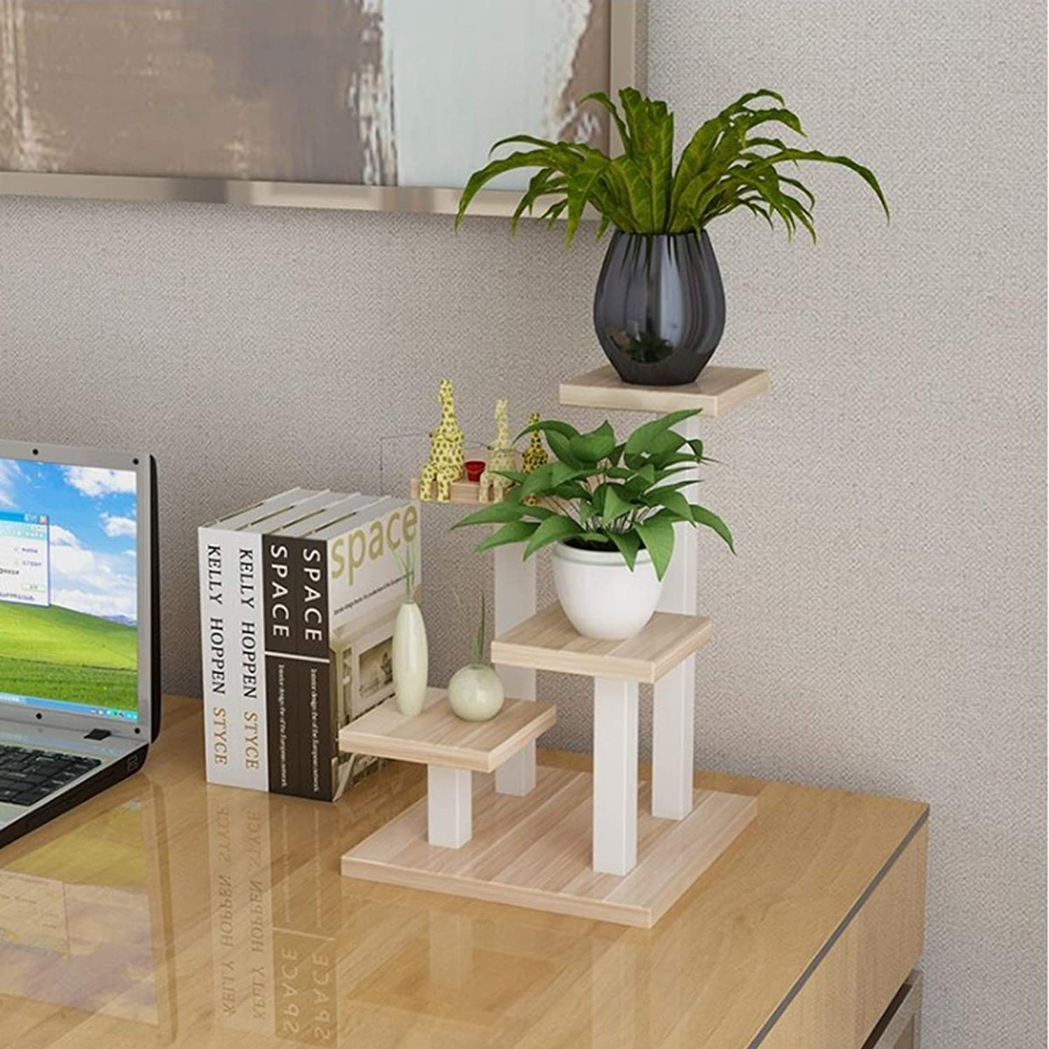 QIJ Wooden Plant Flower Display Stand Storage Rack Modern Home Living Room Office Tabletop Decorative,Woodcolor,A