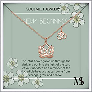 Sterling Silver Yoga Lotus Flower Necklace for Women Girls with Inspirational Quote on Gift Card, Happy Birthday Gifts for Mom Daughter