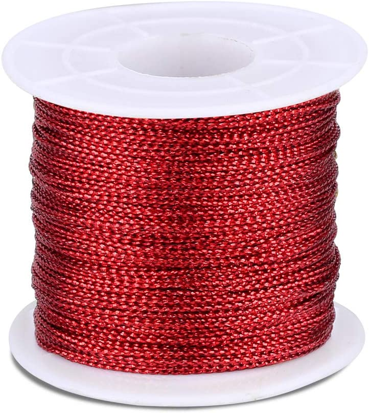 328 Feet Metallic Cord Gift Wrapping Thread Tinsel String Craft Making Cord Silver