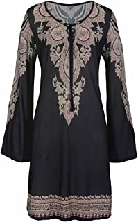 Women Boho Vintage Print Crisscross Bandage Casual Loose Bell Sleeve Mini Dress Sundress