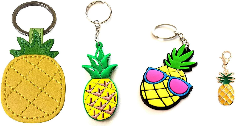 Pineapple Lover's Keychain Bag Charm Gift Set - Leather Pineapple - Soft Rubber Pineapple - PVC Rubber Pineapple - Metal Trinket Pineapple (4 Pack)