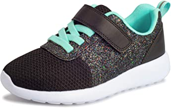 Girls Sneakers Toddlers/Kids Glitter Tennis Shoes Fashion Mesh Breathable Hook and Loop Slip-on Basketball Running Sports Shoes (Toddlers/Little Kids/Big Kids)