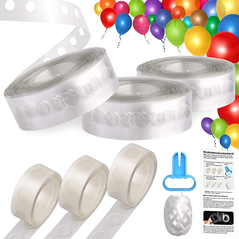 Balloon Decorating Strips, UPGRADED VERSION Balloon Arch Tape 3 rolls Total 48 FT Garland Decorating Strip + 3 Rolls Balloon Glue Dots + Balloon Tying Device + 32FT String + Easy to Follow Instruction