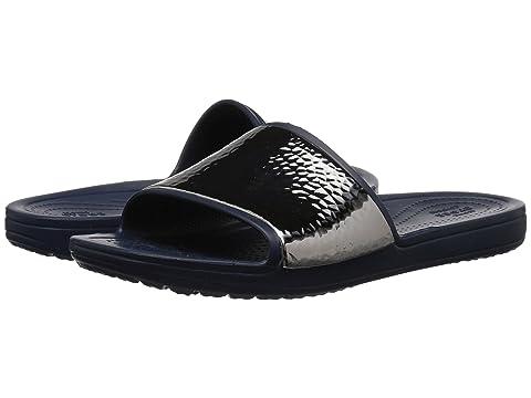 ba82aa63d5ddc4 Crocs Sloane Hammered Metallic Slide at 6pm