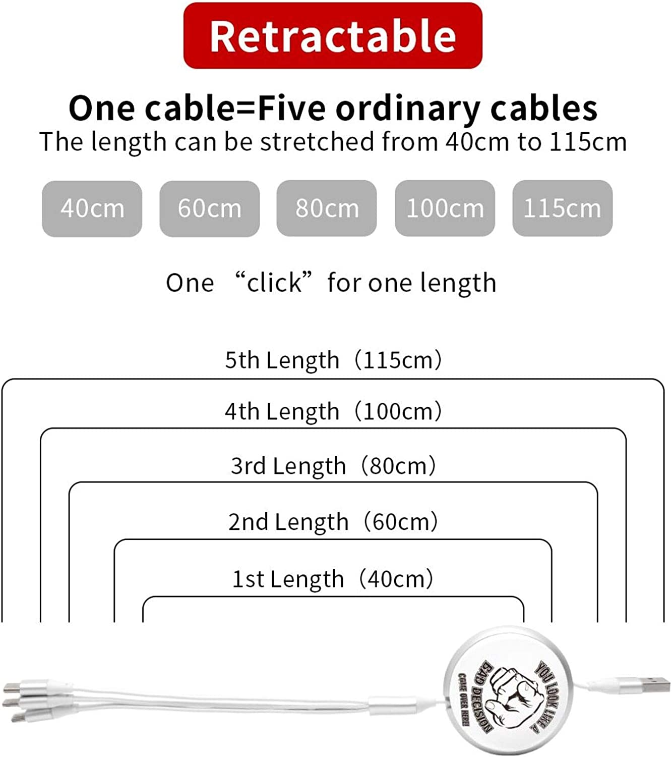 You Look Like A Bad Decision Round White Mobile Phone USB Charging Cable Portable and Practical Three-in-One Retractable Data Cable