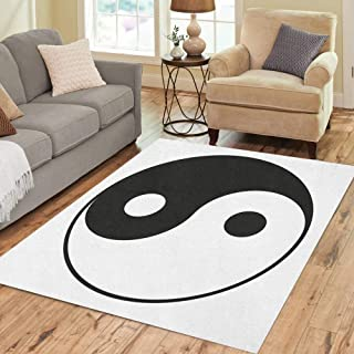 Semtomn Area Rug 2' X 3' Ying Yin Yang for Symbol Yinyang Balance Karma Sign Home Decor Collection Floor Rugs Carpet for Living Room Bedroom Dining Room