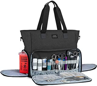 CURMIO Nurse Bag and Tote with Padded Laptop Sleeve, Medical Supplies Bag for Home Visits, Health Care, Hospice, for Nursing Students, Medical Assistant, Visiting Nurses, Bag ONLY, Black