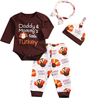 Baby Boy Girl Thanksgiving Outfit Letters Print Bodysuit+Turkey Pants and Hat Headband Clothes Set