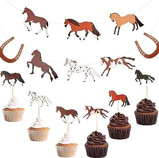 36 Pieces Horse Cupcake Topper and 1 Piece Horse Garland Banner Horse Racing Streamer Horse Racing Streamer Horse Cake Dec...
