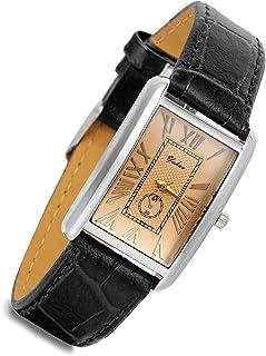 Lancardo - Orologio analogico al quarzo, stile retrò, vintage, con cassa in pelle marrone, stile coccodrillo, stile busine...