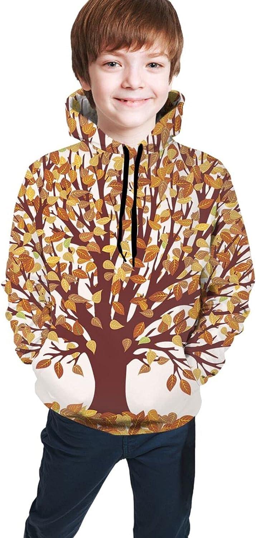 Kimisoy Kids Hoodie Fall Trees And Leaves Comfy Hooded Sweatshirt Loose Pull Over Hoodie