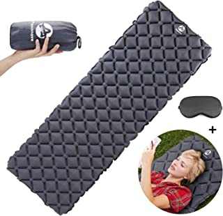 Pasanava Large Size Camping Sleeping Pad with Eye Mask, Ultralight Inflatable Compact Sleeping Air Mattress Comfortable With Hiking Backpacking other Outdoor Activitys Gray