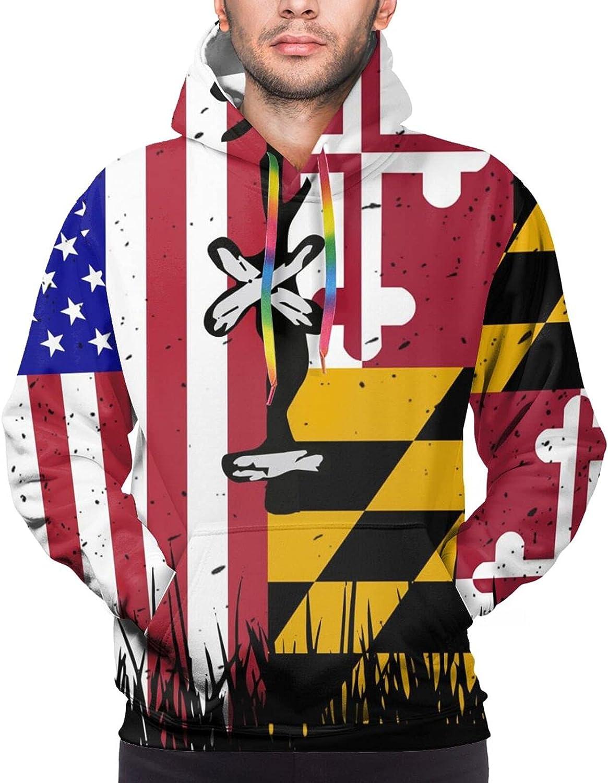 Hoodie For Mens Womens Teens Maryland American Flag Hoodies Fashion Sweatshirt Drawstring