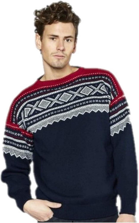 Marius Rauma Men Crewneck Woollen Sweater Pullover Jumper - 100% Norwegian Knitted Wool Warm, Soft & Comfortable