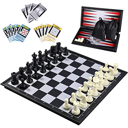 """iBaseToy 3 in 1 Magnetic Travel Chess Set 2.0 Upgraded Version for Kids and Adults, Chess Checkers Backgammon Set with a Larger Size Folding Chess Board and Storage Bag, 12.6"""" x 12.6"""""""