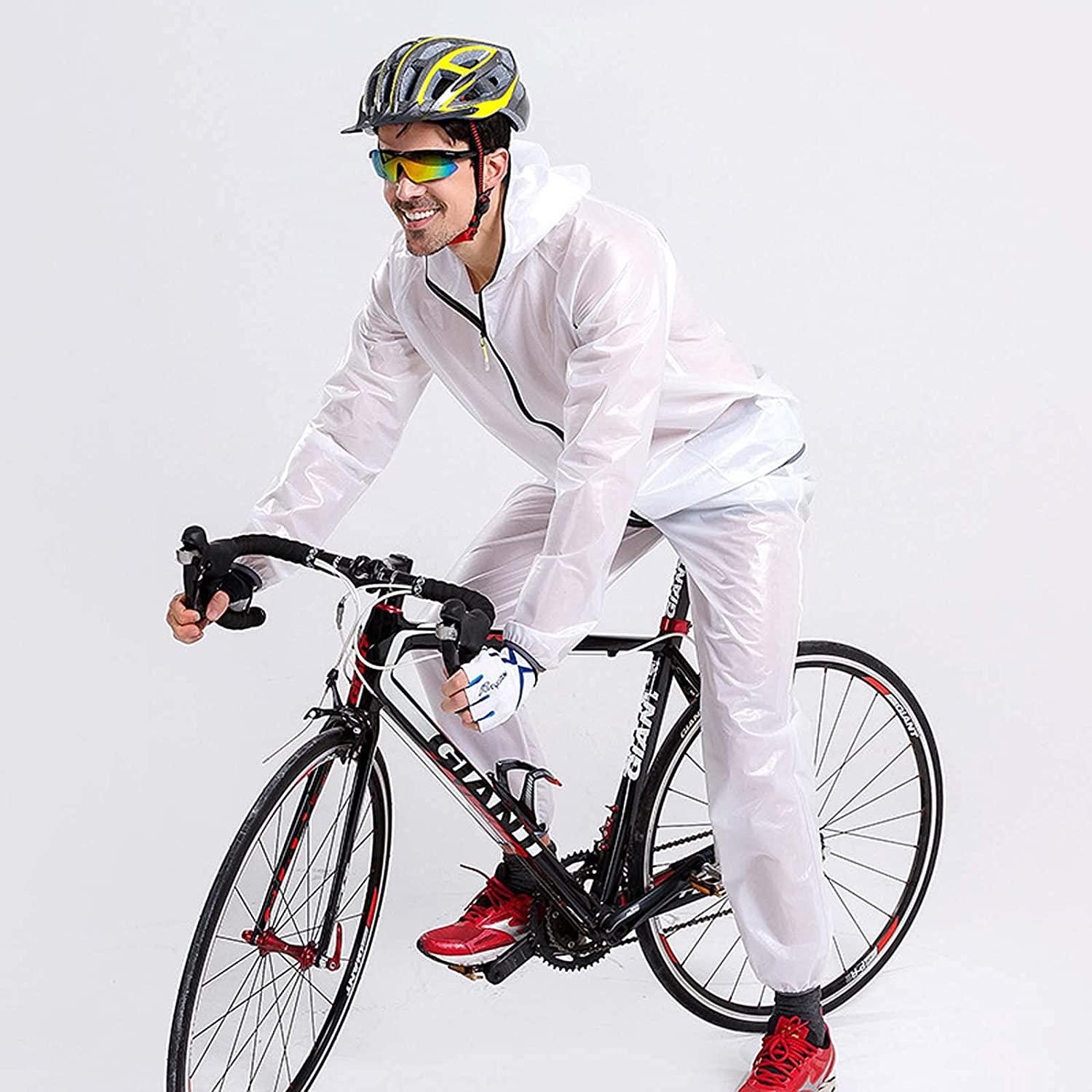 FHGH Men's Split Raincoat for Cycling, Portable Raincoat and Trousers Set, for Riding, Hiking and Traveling,C,Medium