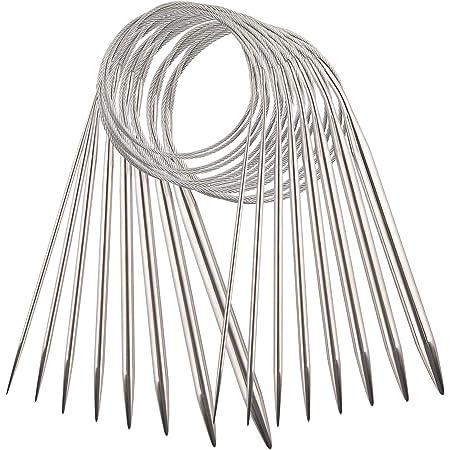 AIEX 8pcs Acier Inoxydable Ensemble d'Aiguilles à Tricoter Circulaires Aiguilles à Tricoter Pour Projet De Tissage (2 mm, 3 mm, 4 mm, 4,5 mm, 5 mm, 6 mm, 7 mm, 8 mm)