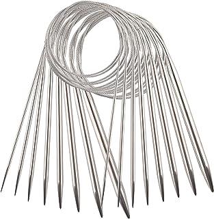 AIEX 8pcs Acier Inoxydable Ensemble d'Aiguilles à Tricoter Circulaires Aiguilles à Tricoter pour Projet De Tissage (2 mm, ...
