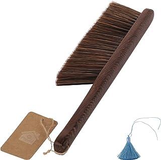 実木(手羽先の木)柄のほうきは、たてがみをまねる。しなやかで静電気がなく、家具、畳と寝床、デスクトップ、車の椅子、ホテルのオフィスなどに適しています [並行輸入品]