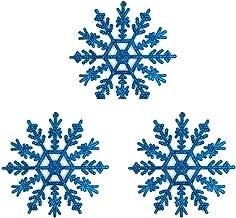 6 Pcs Christmas Snowflakes Plastic Snowflake Indoor Pendant Ornament Christmas Tree Decoration Xmas Baubles Blue