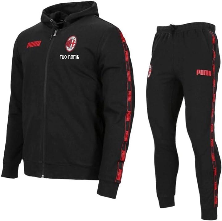 Tuta nera cappuccio ufficiale a.c. milan 20/21 personalizzata personalizzabile maestri del calcio B07TWQW6D1