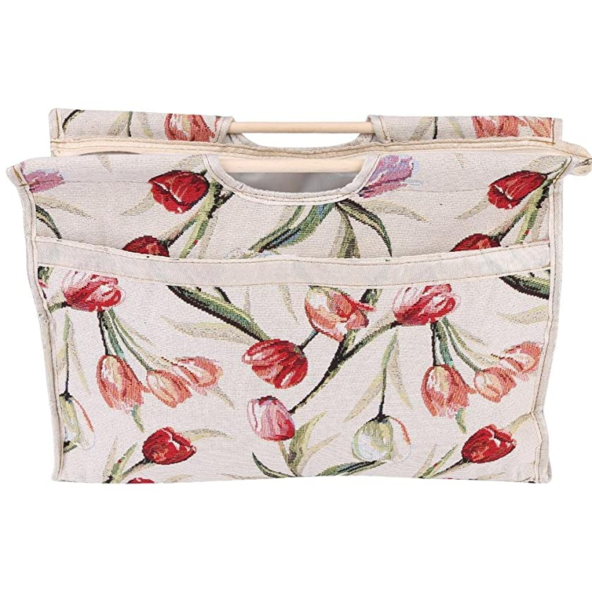 Knitting Needles Bag,Wood Handle Woven Fabric Storage Bag DIY Sewing Tools Holder Organizer Bag Sewing Accessories Organizer(Red Flower)