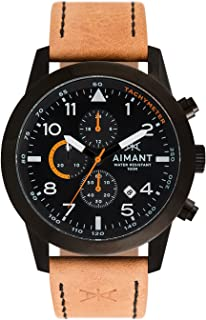 AIMANT Berlin Cronograph Watches | 47 MM Men's Analog Watch | Leather Strap
