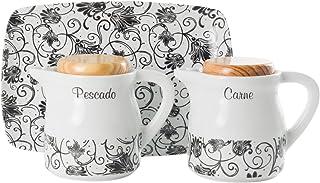 La Cija París Negro Graseras de Porcelana con Bandeja,