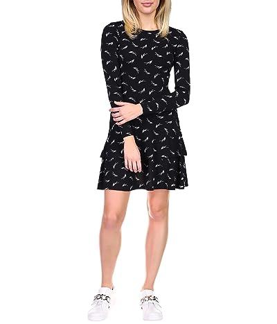 MICHAEL Michael Kors Signature Logo MJ Flounce Dress (Black/White) Women