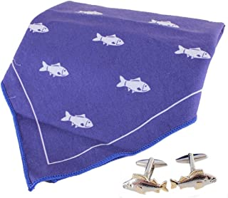 David Van Hagen Mens Fish Handkerchief and Cufflink Set - Blue/White