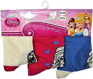 Calcetines de princesas Disney, talla 23/26-3 pares