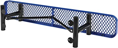 Global Industrial 6'L Flat Outdoor Bench, Expanded Metal, Blue