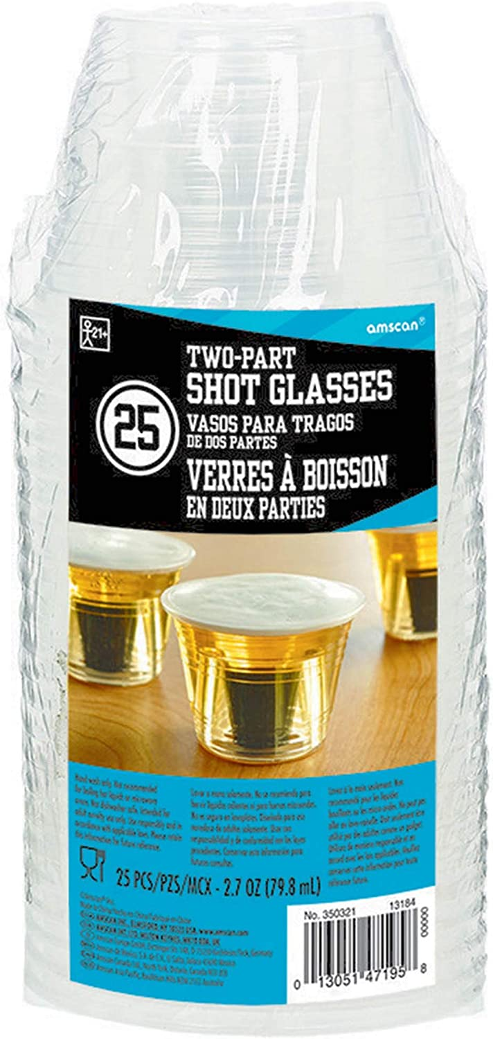 Amscan Two-Part OFFer Shot Glasses Clear Excellent oz 2.75