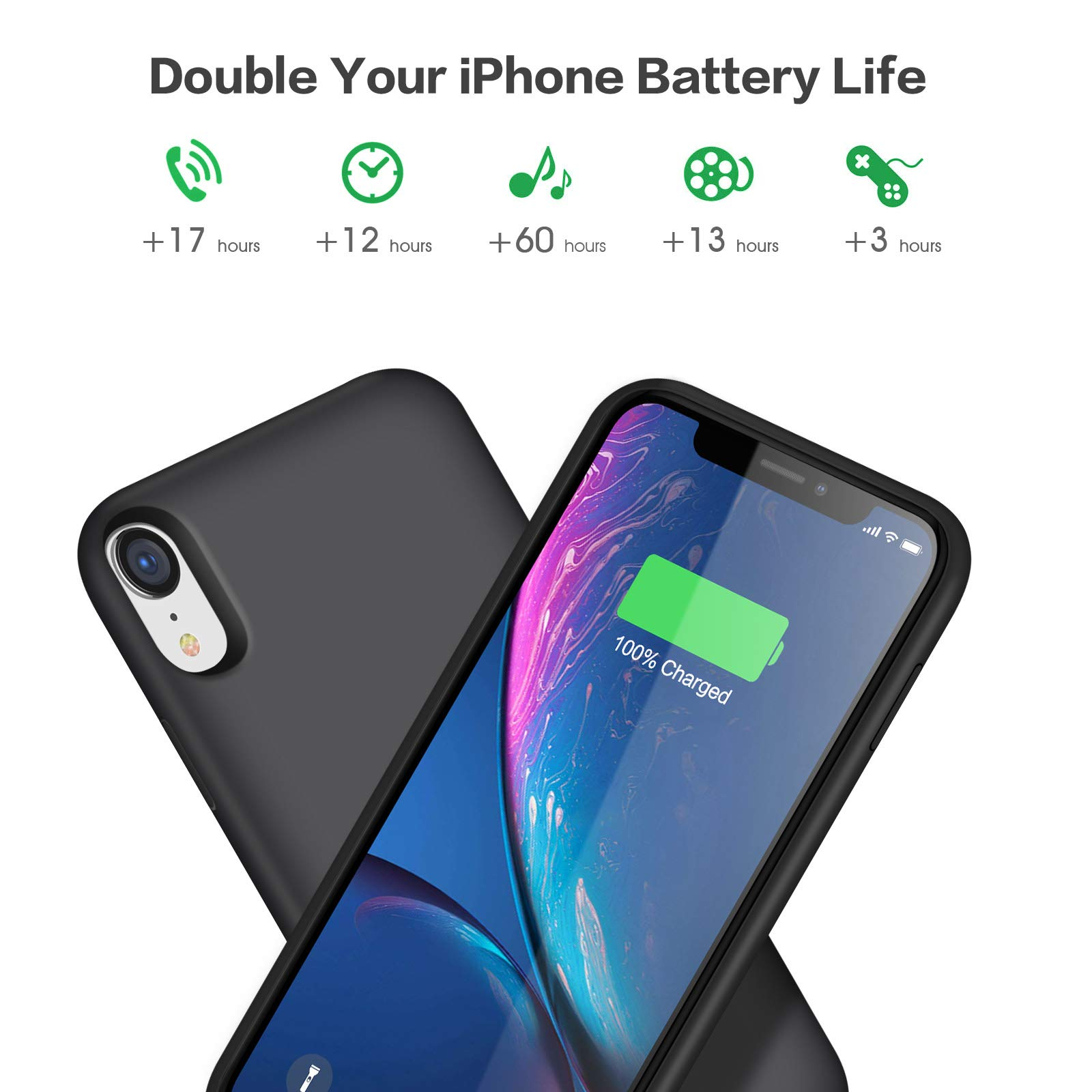 iPosible Battery Case for iPhone XR, [6800mAh] Charging Case Extended Battery for XR Rechargeable Battery Power Bank Portable Charger Case [6.1