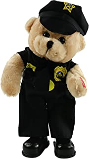 Houwsbaby Singing Police Justicial Teddy Bear Dancing Stuffed Animal in Uniform Electronic Plush Toy Interactive Animated Gift for Boys and Girls Halloween Christmas, Black, 14 inches