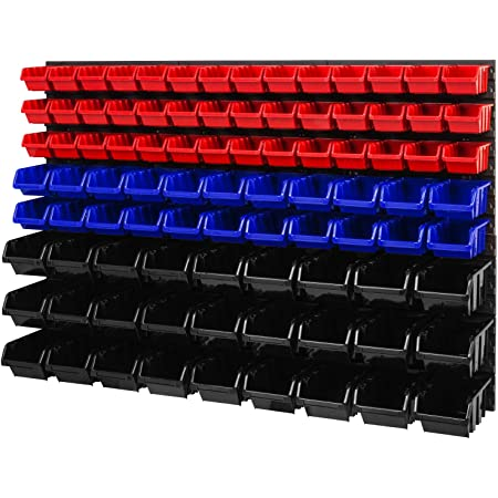 Stapelboxen Wandregal Sichtlagerkästen 8 x Wandregal Lagersystem 52 Boxen rot