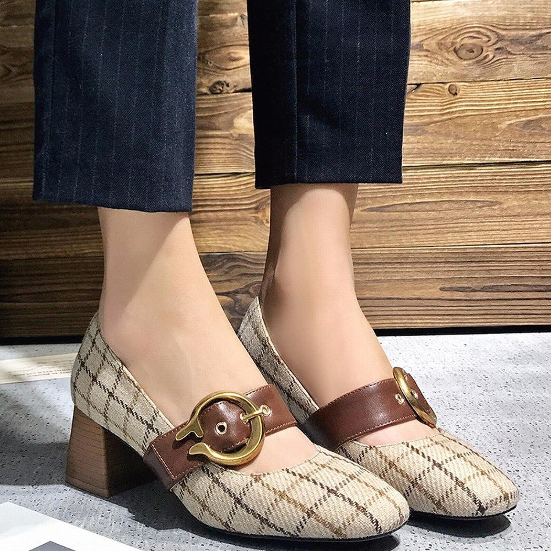CXY Frühling Einzelne Schuhe, Flache Retro Mary Jane Schuhe Schuhe Schuhe mit Hohen Absätzen, Frauen Erste Wort Schnalle Oma Schuhe,Polieren,37  306787