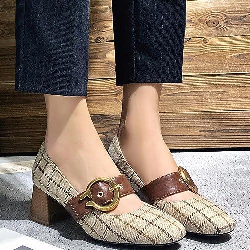 CXY Chaussures Simples de Printemps, Chaussures Mary Jane Rétro Peu Profondes avec des Talons Hauts, Chaussures de Grand-Mère de la Première Boucle de Mot des Femmes,Chamois,39