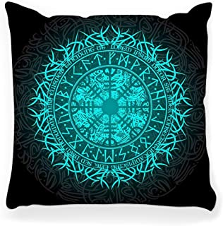 Toobaso Decorative Throw Pillow Cover Square 16x16 Runic Symbol Isolated Black Celtic Tattoo Amulet Ancient Art Character Element Esoteric Futhark German Home Decor Zippered Pillowcase