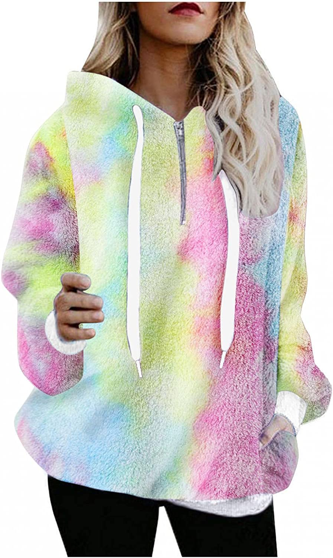 lucyouth Hoodies for Women Oversized Fuzzy Fleece Long Sleeve Pullover Zipper Pocket Tie Dye Outwear Hooded Sweatshirt