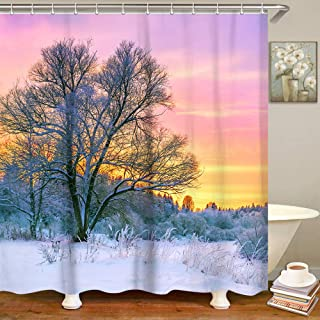 LIVILAN Sunset Glow Snow Tree Pattern Shower Curtain Set with 12 Hooks Fabric Bath Curtain Home Decorations Home Curtain Machine Washable,70.8 by 70.8 Inches