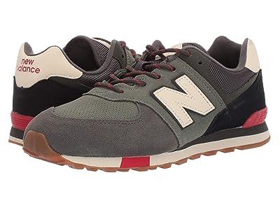 New Balance Kids 574v1-USA (Big Kid) (Camo Green/Team Red) Kids Shoes