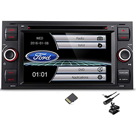 Autoradio 7 2 Din Dvd Usb Gps Bluetooth Custom Fit Für Ford Focus C Max S Max Transit Fiesta Galaxy Kuga Schwarz Navigation