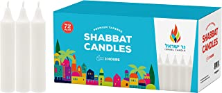 Shabbat Candles - 72 White Taper Candles - Shabbos Candles by Israel Candle 3 Hr. - 72 Ct.