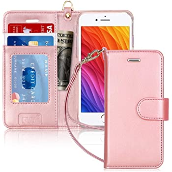 "FYY Luxury PU Leather Wallet Case for iPhone 6/6s, [Kickstand Feature] Flip Phone Case Protective Shockproof Folio Cover with [Card Holder] [Wrist Strap] for Apple iPhone 6/6s 4.7"" Rose Gold"