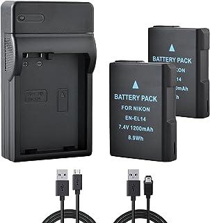 BPS 2X EN-EL14 EN-EL14a Baterías + USB Cargador de Batería para Nikon D3100 D3200 D3300 D5100 D5200 D5300 D5500 D3S Coolpix P7000 P7100 P7700 P7800 DSLR Cámara Nikon Cargador de Baterías MH-24